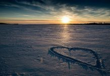 """This """"snow heart"""" on the southern shores of Lake Scugog from View Lake, on the boundary of Durham and Kawartha Lakes, was one of a series of Valentine's Day photographs from five photographers that was our top post on Instagram in February 2021. (Photo: Rachelle Richard Mack @rachelle_richard_photography / Instagram)"""