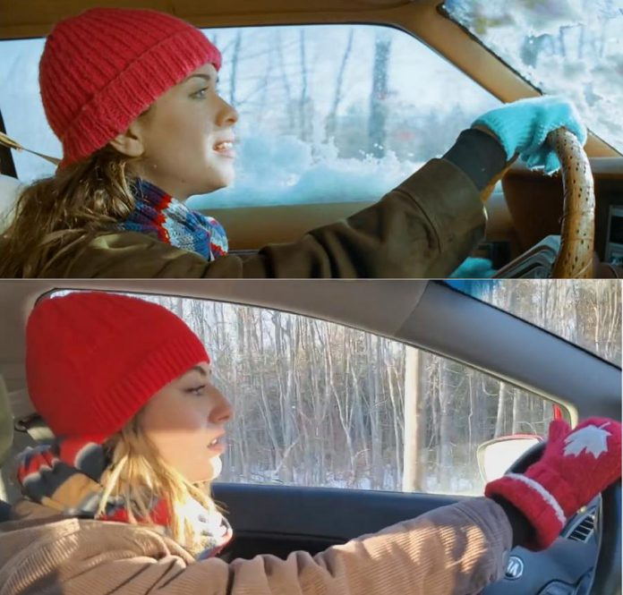 """Alanis Morissette in the music video for her 1996 hit """"Ironic"""" and Ashton Kelly in the pandemic parody video """"Life in a Pandemic (don't it stink)"""". With a few calculated variations, the parody music video is almost a shot-for-shot recreation of Morissette's original music video.  (Screenshots)"""