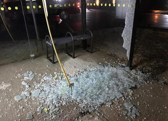 A vandalized bus shelter in Lindsay. (Police-supplied photo)