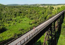 Carlotta James, co-founder and project director of the Monarch Ultra Relay Run, running across the Doube's Trestle Bridge on the Trans Canada Trail east of Omemee, part of the 1,800-kilometre route of the Monarch Ultra Relay Run taking place in September 2021 to raise awareness of plight of monarch butterfly and funds for Camp Kawartha's environmental programs for youth. (Photo: Rodney Fuentes)