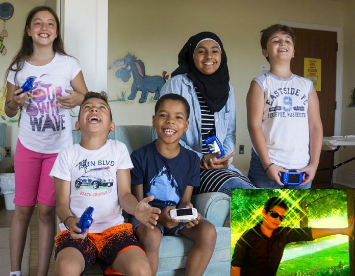 Participants in the New Canadians Centre's Newcomer Children's Photography Project, which began in July 2016 and wrapped up in with a community exhibit during the SPARK Photo Festival in 2017. From left to right: Zeinah, Ibrahim, Amjad, Raneem, Ghaith, and (insert) Sami.  A Newcomer Youth Photo Project followed in 2017 and 2018 with a Newcomer Adult Photography Project in 2020. (Photo courtesy of New Canadians Centre)