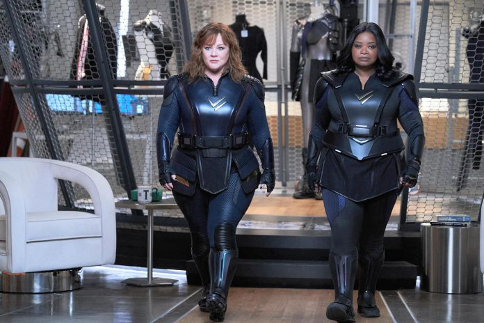 """The Netflix action comedy film """"Thunder Force"""" starring Melissa McCarthy and Octavia Spencer as recently reunited childhood best friends who develop superpowers in a world where supervillains are commonplace. It premieres on Netflix on Friday, April 9th. (Photo: Netflix)"""