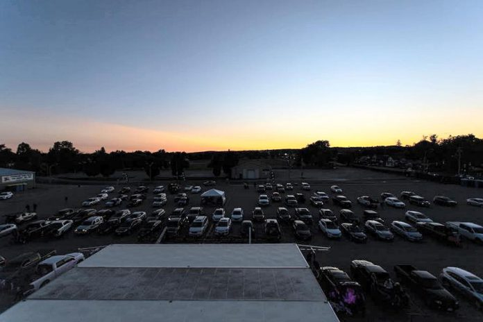 Vehicles gather in the Peterborough Memorial Centre parking lot for a drive-in concert series held in September 2020, which saw The Sheepdogs with The Jim Cuddy Band perform on a Friday night followed by Tim Hicks with Jason McCoy the following night. (Photo: Kate O'Neill)
