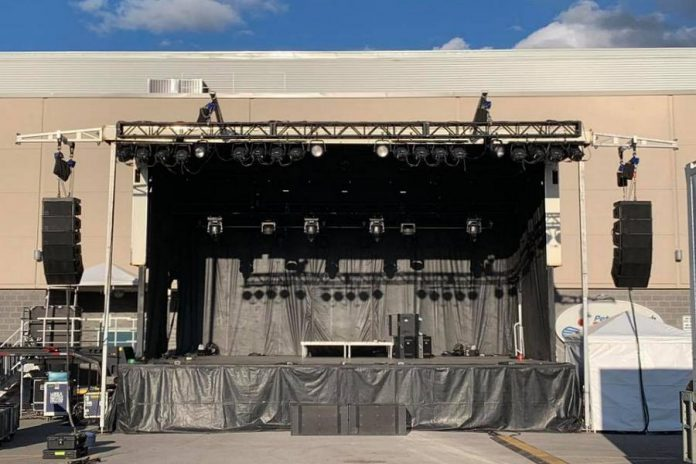 The outdoor stage in the Peterborough Memorial Centre parking lot in September 2020. Jim Cuddy performing at a drive-in concert in in the Peterborough Memorial Centre parking lot in September 2020. (Photo: Kate O'Neill)
