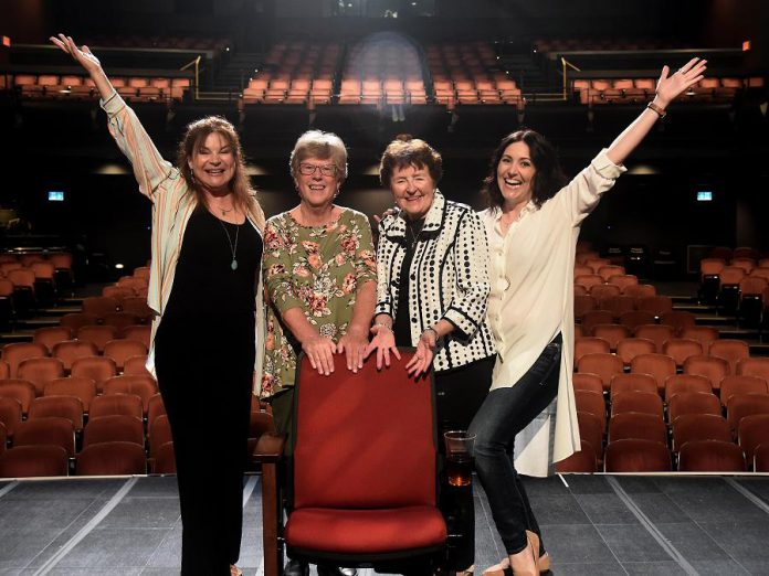In a photo from August 2019, former Showplace board chairs and current volunteers Pat Hooper and Beth McMaster (middle) launch a capital fundraising campaign for much-needed renovations at the downtown Peterborough performance venue, including replacing 647 aging seats in the Erica Cherney Theatre, with the support of local celebrities Linda Kash and Megan Murphy. (Photo courtesy of Showplace Performance Centre)