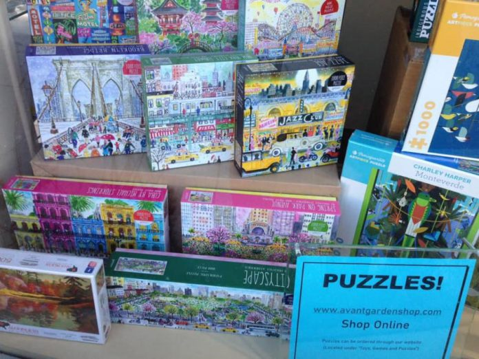 The popularity of puzzles during the pandemic has also helped The Avant-Garden Shop offset slower sales of other items in the store. (Photo courtesy of The Avant-Garden Shop)