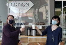 Local entrepreneur Tracey Ormond (left) has purchased The Edison Espresso and Pastry Bar in downtown Peterborough from Lindsay Brock, who founded the popular coffee shop in 2018. Ormond will reopen The Edison with a new menu on March 8, 2021, while Brock will continue to supply The Edison with coffee bean blends through her new business Covet Coffee & Tea. (Photo courtesy of Lindsay Brock and Tracey Ormond)