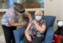 Lorraine Button, a resident of Pinecrest Nursing Home in Bobcaygeon, received her first dose of the Moderna COVID-19 vaccine on January 27, 2021. As of March 3, around 1,700 residents of long-term care homes in Kawartha Lakes, Northumberland, and Haliburton are fully vaccinated against COVID-19. (Photo: Haliburton, Kawartha, Pine Ridge District Health Unit / Facebook)
