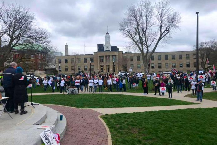 A recent anti-lockdown protest in front of Peterborough City Hall. (Photo: Tyler Berry / No More Lockdowns Peterborough Facebook group)
