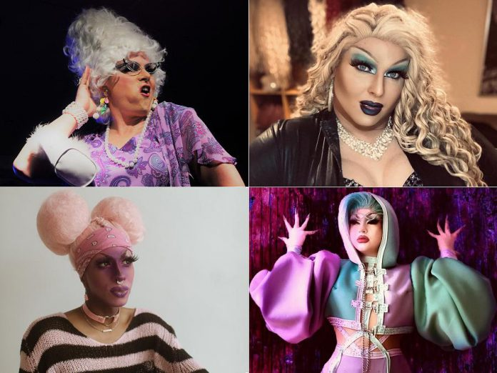 Peterborough-area drag artists Ms. Madge Enthat and Miss Divalicious (top row) and Sahira Q, and Just Janis (bottom row) are looking forward to the day when they can once again perform for in-person audiences. (Photos supplied by the artists)