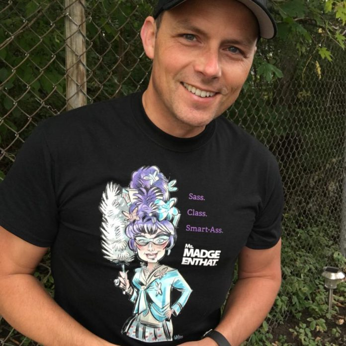 When not performing as Ms. Madge Enhat, J.C. Gonder works as an employee at Bruce Nuclear Power Generating Station. He shared his story with kawarthaNOW for Peterborough Pride Week 2020. (Supplied photo)