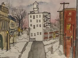 "A detail of ""Towards the Tower"" (watercolour and ink on paper) by Karin McLean, a self-taught artist who lives in Peterborough. McLean is one of the many local artists participating in the Artspace 50/50 Auction, which takes place online from April 26 to May 6, 2021. Proceeds from the auction are split equally between participating artists and the non-profit artist-run centre. (Photo: Bec Groves / Artspace)"