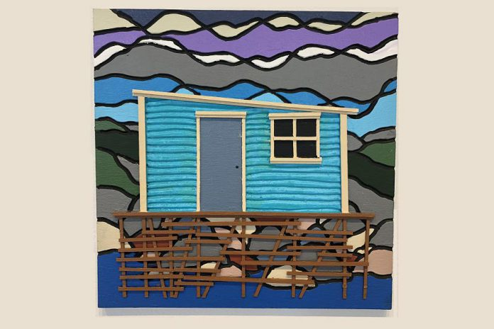 """""""Uncle George's Hut"""" (acrylic on routered plywood with balsa wood strips) by Bronson Smith, one of the many local artists participating in the Artspace 50/50 Auction, which takes place online from April 26 to May 6, 2021. Proceeds from the auction are split equally between participating artists and the non-profit artist-run centre. (Photo: Bec Groves / Artspace)"""