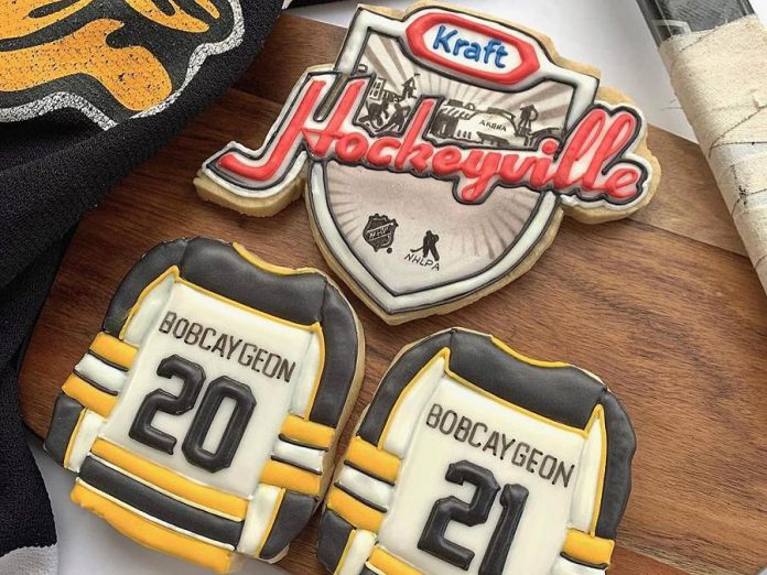 A local bakery made these cookies in support of Bobcaygeon's bid to be voted the winner of Kraft Hockeyville 2021 Canada. Voting opens at 9 a.m. on April 9 and continues until 5 p.m. on April 10. (Photo supplied by City of Kawartha Lakes)