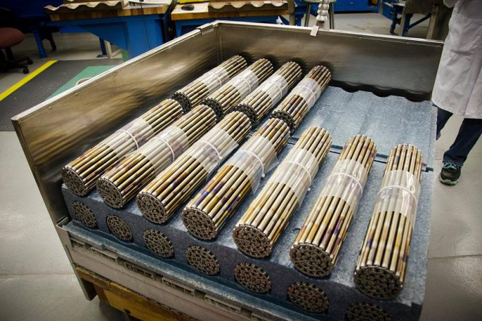 BWXT's Toronto plant produces natural and depleted uranium dioxide pellets. The company's Peterborough plant uses the pellets and in-house manufactured zirconium alloy tubes to assemble fuel bundles (pictured) for nuclear power reactors. The Canadian Nuclear Safety Commission has approved a 10-year operating licence for BWXT that also authorizes the company to move its fuel pellet manufacturing operation to Peterborough. (Photo: BWXT Nuclear Energy Canada Inc.)