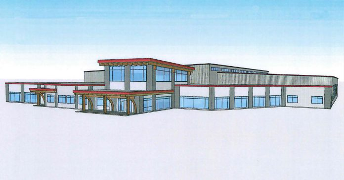 Trent Hills will receive the largest portion of the joint provincial and federal funding, with $7.5 million going towards the construction of the new multi-purpose Campbellford Recreation and Wellness Centre, which will include an NHL-sized rink and an aquatics centre with both a lane pool and smaller therapy pool, as well as a complete fitness centre. (Illustration: Municipality of Trent Hills)