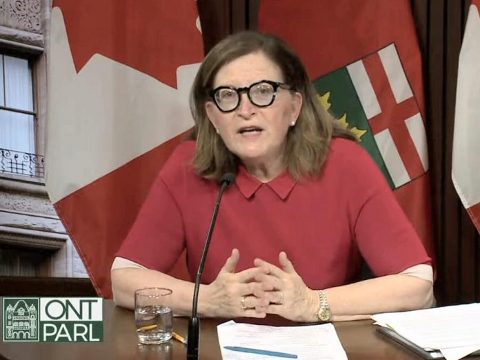 Dr. Barbara Yaffe, Ontario's associate chief medical officer of health, explains how the province has changed its reporting of variants of concern during a media briefing at Queen's Park on April 8, 2021. (CPAC screenshot)