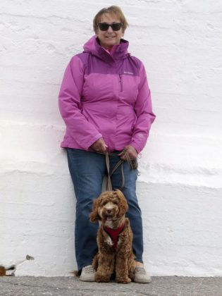 """Catherine Ducharme, pictured with her dog Murphy, was inspired to bring a local chapter (""""Pawd"""") of ElderDog Canada to Peterborough after hearing about the organization through a friend involved in a Nova Scotia Pawd. She noticed a lot of seniors with dogs in her own neighbourhood and also wondered what would happen to her own dog if she and her husband were no longer around. (Photo courtesy of Catherine Ducharme)"""