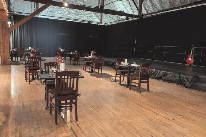 How tables will be spaced at the Lakeview Arts Barn in Bobcaygeon for Globus Theatre's summer 2021 productions. (Photo courtesy of Globus Theatre)