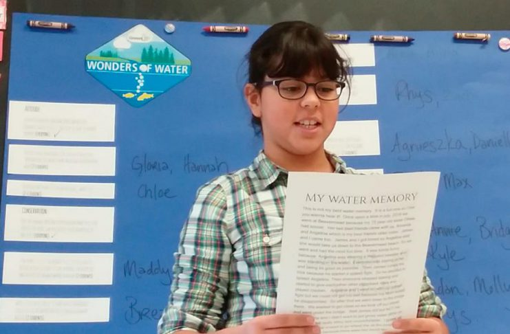 The 2021 Peterborough Children's Water Festival, which heads online during May, will conclude by sharing the experiences of students and schools with GreenUP's Wonders of Water program. Pictured is Agnieszka sharing her favourite water memory with her fellow grade 5 classmates at Monsignor O'Donoghue in Peterborough in 2019. (Photo: Karen O'Krafka)