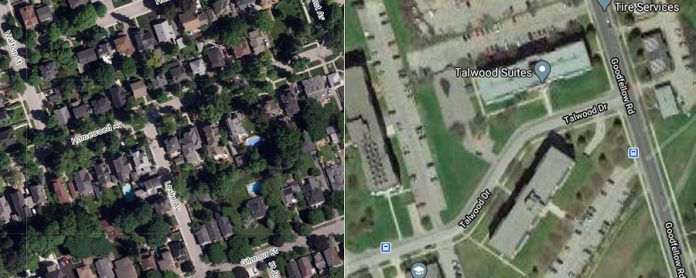 Comparing these two satellite images shows the difference between the relatively dense tree canopy around the intersection of Homewood Avenue and Leslie Avenue in Peterborough, as opposed to the relatively sparse tree canopy at Tallwood Drive at Goodfellow Road, one of the areas of highest population density in the city. A healthy tree canopy and shared green and growing spaces deliver social, economic, and public health benefits to neighbourhoods. (Photos:  Google Maps)