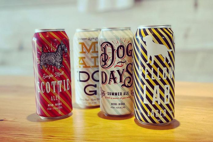 Which of these puppies will you be trying? Old Dog Brewing Company in Bobcaygeon offers a variety of dog-themed beers. Their label design is by Bill Douglas of Bobcaygeon's Douglas + Son. (Photo: Old Dog Brewing Company)