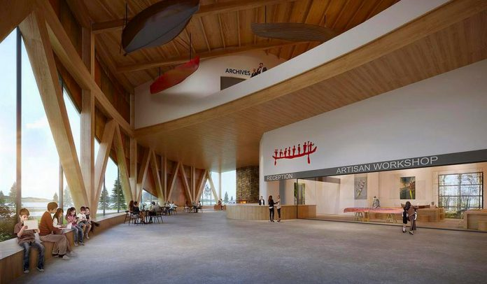 An architectural rendering of the atrium of the planned new Canadian Canoe Museum in Peterborough, showing the reception and artisan workshop areas. This northeast view has Little Lake in the background. (Illustration: Lett Architects Inc.)
