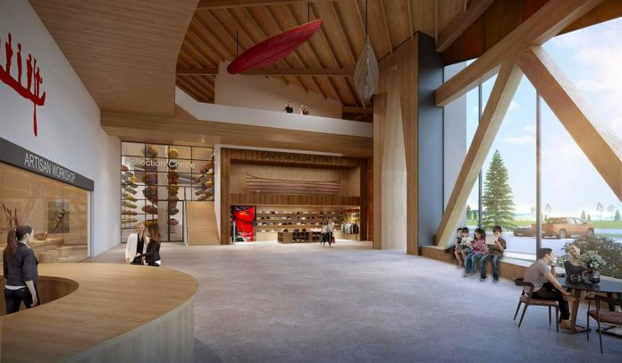 An architectural rendering of the atrium of the planned new Canadian Canoe Museum in Peterborough, showing the museum's collection centre and store. (Illustration: Lett Architects Inc.)