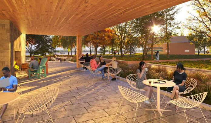 An architectural rendering of the terrace of the planned new Canadian Canoe Museum in Peterborough, near the shore of Little Lake and beside the Great Trail. (Illustration: Lett Architects Inc.)