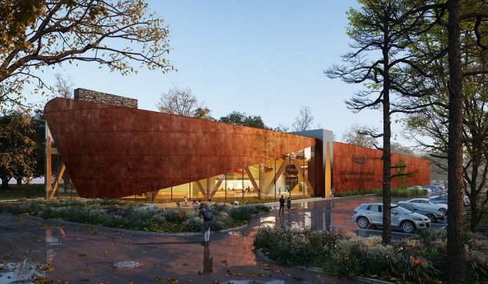 An architectural rendering of the exterior of the planned new Canadian Canoe Museum in Peterborough, facing Ashburnham Drive. (Illustration: Lett Architects Inc.)