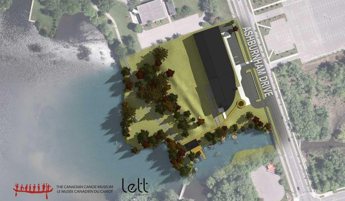 A rendering of the location of the planned new Canadian Canoe Museum in Peterborough, located to the south of the Parks Canada headquarters and to the north of Beavermead Park. (Illustration: Lett Architects Inc.)