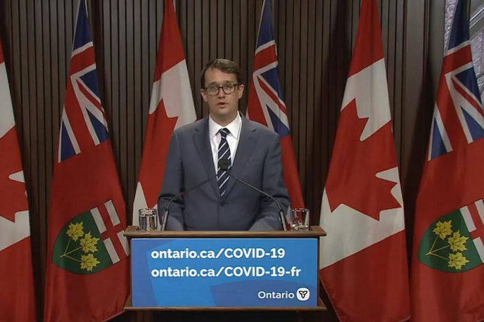 Ontario labour minister Monte McNaughton announces Ontario's proposed COVID-19 paid sick leave program at Queen's Park on April 28, 2021. (YouTube screenshot)