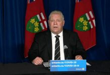 Premier Doug Ford announced on April 12, 2021 that Ontario schools will remain closed after spring break, with all elementary and secondary school students moving to remote learning as of April 19. No date has been set for the reopening of schools. (CPAC screenshot)