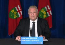 Ontario Premier Doug Ford announces additional province-wide public health restrictions at Queen's Park on April 16, 2021. (CPAC screenshot)