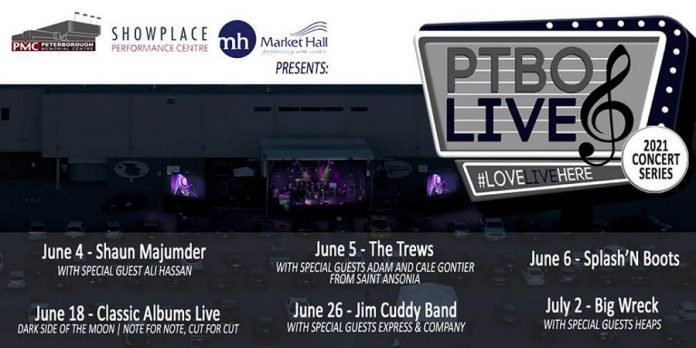 The first six shows of the new PTBOLive Summer Concert Series, a joint presentation of Peterborough Memorial Centre, Showplace Performance Centre. and Market Hall Performing Arts Centre. (Graphic: PTBOLive)