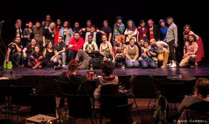 The Peterborough Poetry Collective, which first proposed a poet laureate for the City of Peterborough in 2017, is a working collective of spoken word artists that presented the monthly Peterborough Poetry Slam series before the pandemic, as well as other spoken word, poetry, hip-hop, and storytelling performances, workshops, and initiatives.  In 2015, the collective hosted SLAMtario! The Ontario Poetry Slam Team Championship (pictured are the Peterborough participants) and in 2017 hosted the Canadian Festival of Spoken Word. (Photo: Andy Carroll)