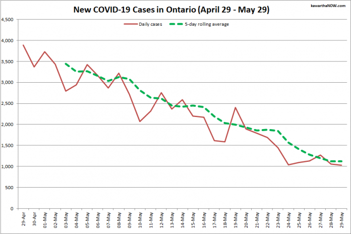 COVID-19 cases in Ontario from April 29 - May 29, 2021. The red line is the number of new cases reported daily, and the dotted green line is a five-day rolling average of new cases. (Graphic: kawarthaNOW.com)