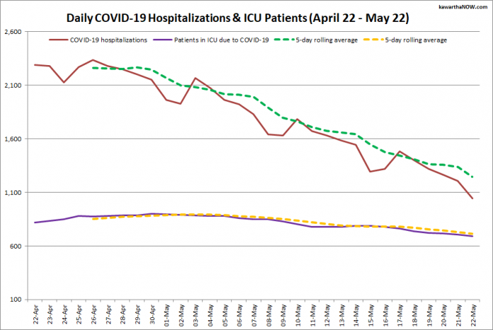 COVID-19 hospitalizations and ICU admissions in Ontario from April 22 - May 22, 2021. The red line is the daily number of COVID-19 hospitalizations, the dotted green line is a five-day rolling average of hospitalizations, the purple line is the daily number of patients with COVID-19 in ICUs, and the dotted orange line is a five-day rolling average of patients with COVID-19 in ICUs. (Graphic: kawarthaNOW.com)