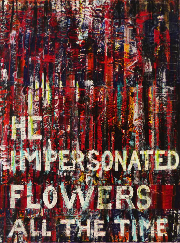 """David Bateman's """"He Impersonated Flowers All The Time"""" (30"""" x 40""""), one of 10 of his paintings on display at Atelier Ludmila Gallery in downtown Peterborough until May 30, 2021. Each painting is available for sale; four (including this one) have already been sold.  (Photo: Laurel Pluck, Artistic Director/Curator of Atelier Ludmila Gallery)"""
