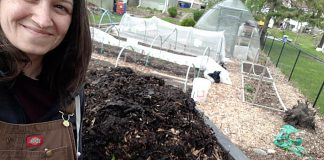 Hayley Goodchild takes a selfie with her compost. To celebrate International Compost Awareness Week (May 2-8), share your #CompostSelfie with @PtboGreenUP on social media. (Photo: Hayley Goodchild)