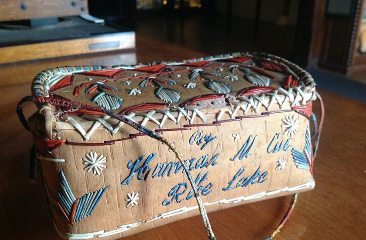 A birch bark basket made by Hannah McCue and presented as a gift to His Royal Highness Albert Edward, Prince of Wales, when he toured North America in 1860. Hiawatha First Nation and the Peterborough Museum & Archives have received federal funding to facilitate the loan of a group of quilled birch bark items from the Royal Collection Trust in England for a planned exhibition at the museum in 2023. (Supplied photo)