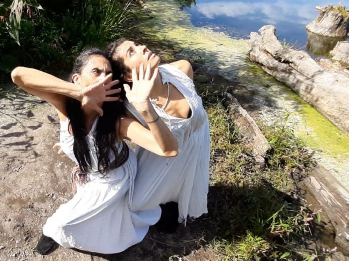 Norma Araiza and Olga Barrios of Vanguardia Dance Projects will present 'Mujeres Hibridas (Hybrid Women)' at the Nogojiwanong Indigenous Fringe Festival, running June 23-27, 2021 at Trent University.  Araiza is Mexican of Yoeme/Basque heritage and Barrios is originally from Bogotá, Colombia. (Photo: Vanguardia Dance Projects)