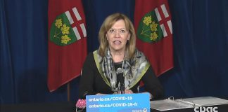 At a media conference on May 5, 2021, Ontario health minister Christine Elliott reported that 43% of Ontario adults have now received their first dose of vaccine, with 65% of adults expected to receive one dose by the end of May. (CPAC screenshot)