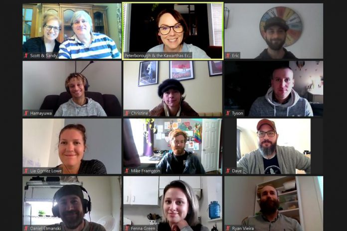 Hillary Manion of Peterborough & the Kawarthas Business Advisory Centre hosts a virtual session of the aspiring to experienced entrepreneurs participating in the winter 2021 intake of the Starter Company Plus program. (Photo: Peterborough & the Kawarthas Economic Development)