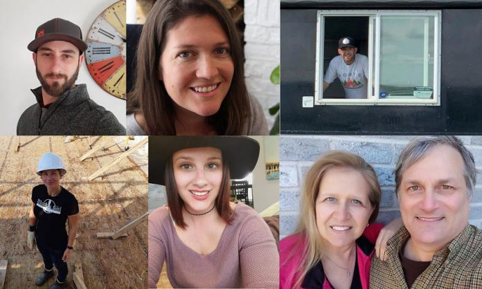 Six participants of the winter 2021 intake of Starter Company Plus each received a $5,000 microgrant to help launch or expand their businesses. Clockwise from top left: E. Tristan Pulham (pictured) and Tyler O'Conner of Elemental Tree Care, Lia Gomez Lowe of Full Bloom Health, Mike Frampton of Tragically Dipped Donuts, Sandy Spremo and Scott D. Bain of the K9 Clipper, Fenna Renee Green of Daily Development, and Christine Jaros of VerminiX Pest Control Company. (Photos courtesy of Peterborough & the Kawarthas Economic Development)