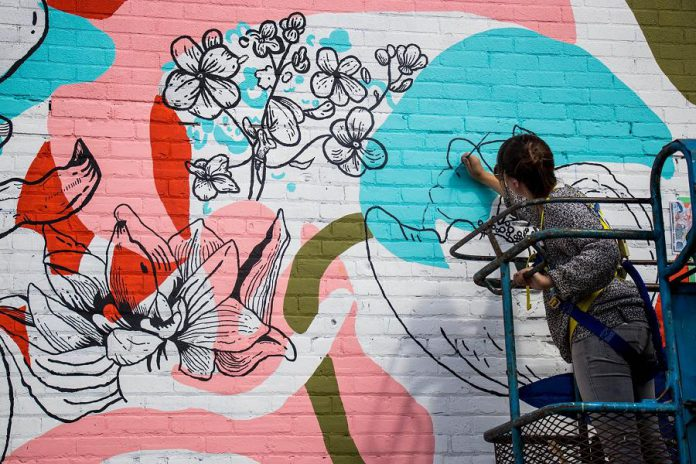 """In 2017, Prince Edward County artist Chrissy Poitras was commissioned to paint her """"Floral Abstraction"""" mural on the south wall of the building at 378 Aylmer Street in Peterborough. For summer 2021, the City of Peterborough's public art program is seeking artists to install temporary road murals at four sites along Hunter Street West in downtown Peterborough. (Photo courtesy of the Peterborough DBIA)"""