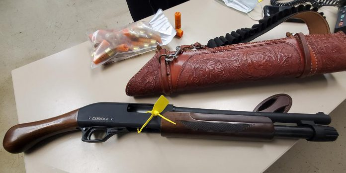 Northumberland OPP seized this shotgun and ammunition after it was allegedly displayed to another driver during a road rage incident in Hamilton Township in Northumberland County on May 30, 2021. (Police-supplied photo)