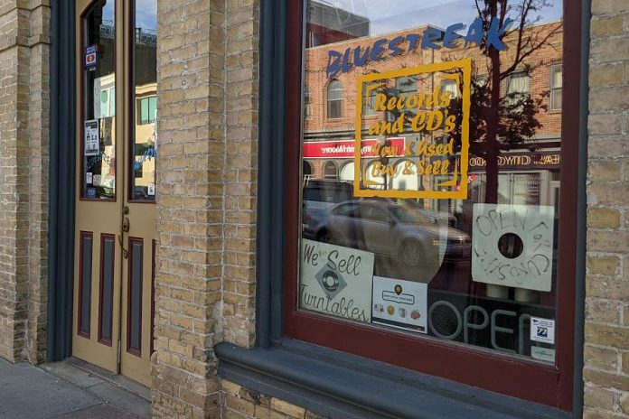Bluestreak Records is moving from its current location at 444 George Street North (pictured) down the street to 394 George Street North, the former location of Haaseltons Coffee & Sweets. (Photo: Bruce Head / kawarthaNOW)