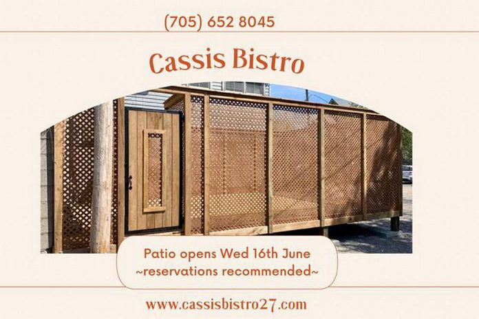 The Cassis Bistro patio opens on June 16, 2021. Reservations are strongly recommended. (Graphic: Cassis Bistro / Facebook)
