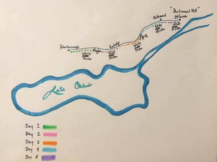 The family's schedule and route for their walk from Peterborough to Ottawa. (Photo: Cahill-Denis family)